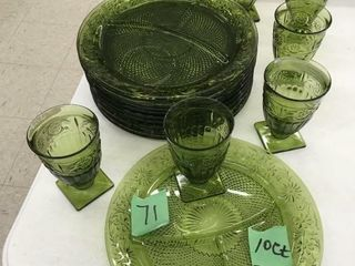 green divided plates, stemware