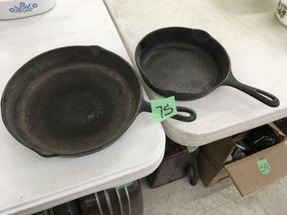 2 cast iron pans