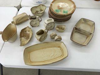 8 frankoma, dinner plates & accessories