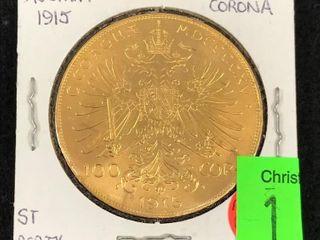 1915 Gold Austria 100 Corona