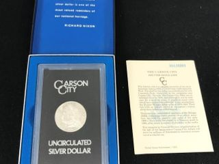 1880 Carson City Uncirculated Silver Dollar In