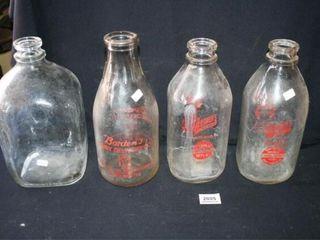 Milk Bottles  3  large Glass Bottle  Borden s
