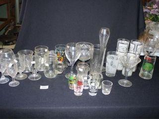Various Glasses and shot glasses