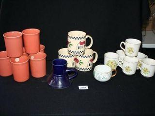 Coffee Mugs  teacups  Corning  Hand painted