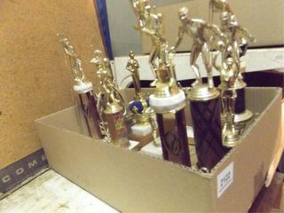 Sports Trophies  1 Box  Football Pads  2