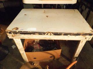 Wood Table w  Metal Top  Box of Hardware