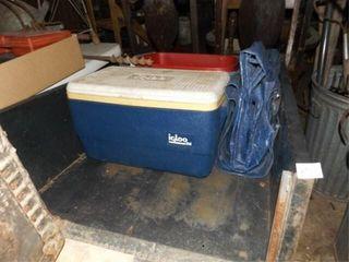 Metal Utility Cart  Ice Chest  Tarp  Tub
