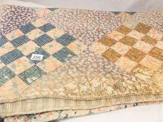 Pieced Quilt   likely Hand Quilted   80  x 65