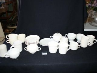 White Mugs and Saucers 23 pieces total