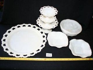White Glassware  Milk glassIJ  7 pieces