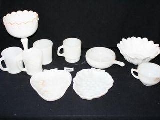 White Glassware  4 Mugs  Fruit Plates  Cup
