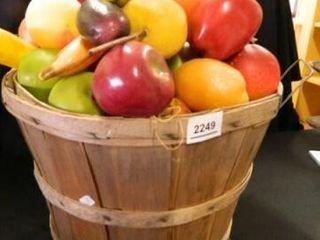Wooden Basket of Plastic Fruit