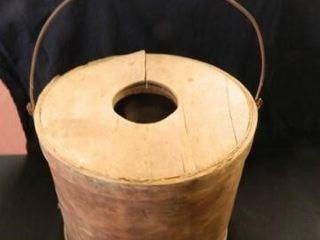 Wooden Bucket w lid  Bale