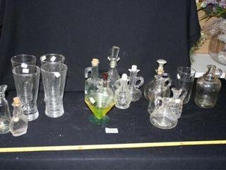 Oil Vinegar Jars  Drinking Glasses  Green cup