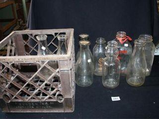 Milk Bottles  1 creme top  Plastic milk Crate