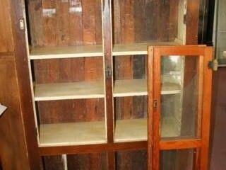 Wooden Cabinet w doors  1 glass broken