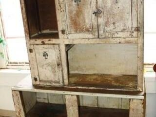 White Chippy Display Cabinet  Wooden