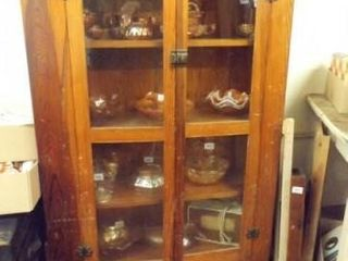Wood Display Cabinet  no contents