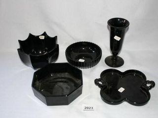 Black Glassware  5 pieces