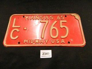 Kansas license Plate  1965