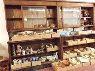 Wood Display Double Cabinet  no contents