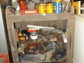 Wood Cabinet with Contents  Pegboard