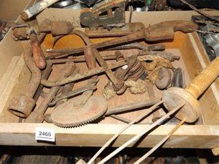Old Metal   Wood Tools   1 Box