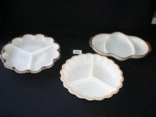 White Glass Serving Dishes w Gold trimming