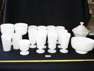 White Grape Pattern Glassware  Planters