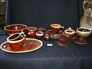Brown Pottery Style Dishes  18 pieces  chippy