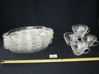 Glass Snack Set  Grape Pattern and Cups
