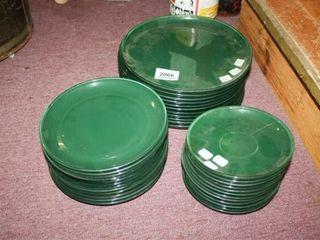 Hunter Green Plates  Dinner  Salad   Desert