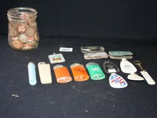 Keyrings  Bic lighters  Bottlecaps in jar