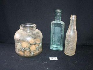 Jar with Bottlecaps  Dr Pepper  Green Glass