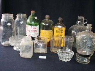 Various Glass Bottles  Gun Turpentine  jars