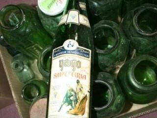 Green Bottles 15  various Sizes  all green Glass