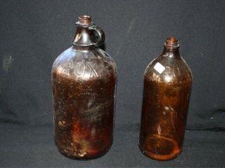 Clorox Bottles  2  Brown Glass