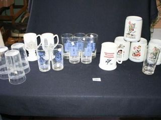 German steins  Etched glasses  reunion glass