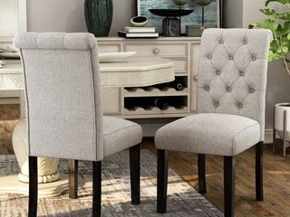 Copper Grove Chalwa Rustic Tufted Armless Dining Chairs   Set of 2