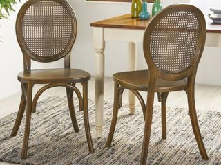 Chrystie Elm Wood and Rattan Dining Chair  Set of 2  by Christopher Knight Home