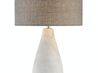 Rockport Table lamp in Polished Concrete with Burlap Shade   Tall