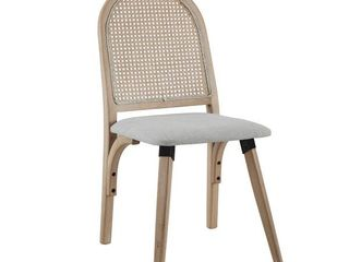 Art leon Rattan linen Fabric Cane Dining Side Chair with Bamboo Frame