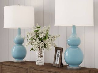 Table lamps Vintage Blue Set of 2 Double Gourd lED lamps by lavish Home