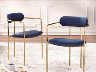 Simple living Retro Velvet Dining Arm Chairs   Set of 2