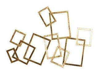 Abstract Rectangular Gold Metal Wall Decor  Set of 3