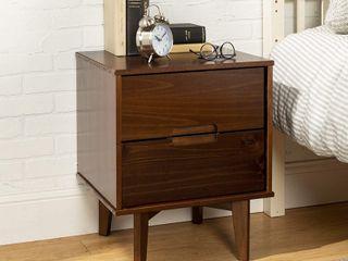 Mid Century Modern 2 Drawer Wood Nightstand   Walnut   SET OF 2