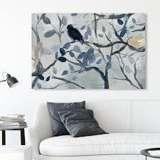 Oliver Gal  Singing Birds  Animals Wall Art Canvas Print   Blue  Gray