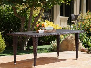 Dominica Outdoor 75  Wicker Rectangular Dining Table by Christopher Knight Home