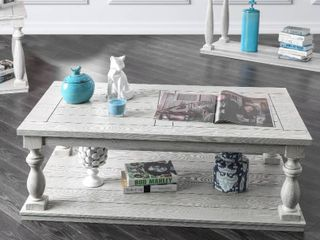 Furniture of America Tost Rustic White Solid Wood Coffee Table
