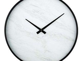 la Crosse 14  Modern Faux Marble Metal Framed Quartz Clock